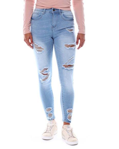Fashion Lab - Destructed Ripped Hem Skinny Jean