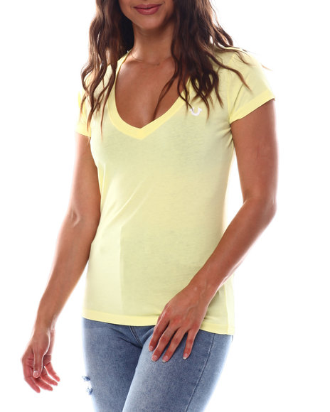 True Religion - Double Puf Rounded V Neck