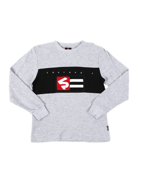 Southpole - Chenille Flag Long Sleeve Thermal Shirt (8-20)