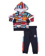Boys - 2 Pc Fleece Zip Front Hoodie & Color Block Trim Jogger Pants Set (2T-4T)-2542742
