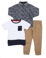 Boys - 3 Pc Hudson Theater 1 Pocket Tee, Woven Button Down Shirt & Jogger Pants Set (4-7)-2542947