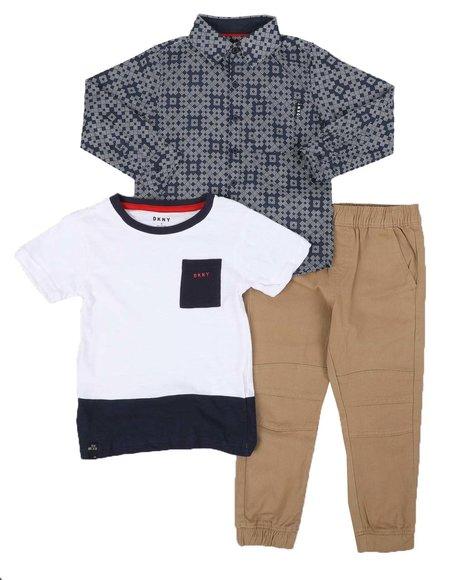 DKNY Jeans - 3 Pc Hudson Theater 1 Pocket Tee, Woven Button Down Shirt & Jogger Pants Set (4-7)