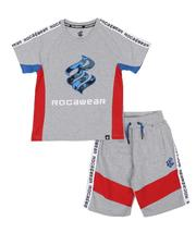 Rocawear - 2 Pc Color Block T-Shirt & Shorts Set (8-18)-2542964