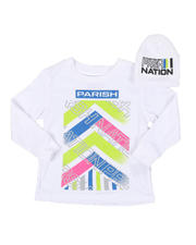 Boys - 2 Pc Parish Nation Graphic Long Sleeve T-Shirt & Beanie Set (2T-4T)-2541978