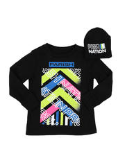 Boys - 2 Pc Parish Nation Graphic Long Sleeve T-Shirt & Beanie Set (2T-4T)-2542235