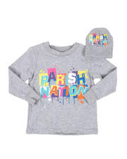 Boys - 2 Pc Parish Nation Drip Graphic Long Sleeve T-Shirt & Beanie Set (2T-4T)-2542505