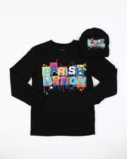Boys - 2 Pc Parish Nation Drip Graphic Long Sleeve T-Shirt & Beanie Set (8-20-2542642