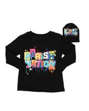 Boys - 2 Pc Parish Nation Drip Graphic Long Sleeve T-Shirt & Beanie Set (2T-4T)-2542728
