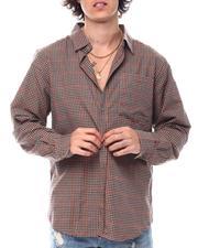 Button-downs - Windowpane Earth Tone Plaid Ls Shirt-2542776