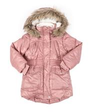 Outerwear - Hooded Elasticized Waist Sherpa Lined Parka Jacket W/ Faux Fur Trim (4-6X)-2542982