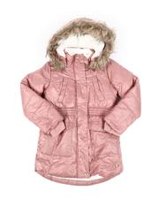 Outerwear - Hooded Elasticized Waist Sherpa Lined Parka Jacket W/ Faux Fur Trim (7-16)-2542987
