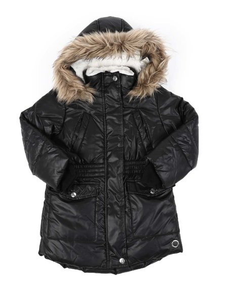 BCBGirls - Hooded Elasticized Waist Sherpa Lined Parka Jacket W/ Faux Fur Trim (4-6X)