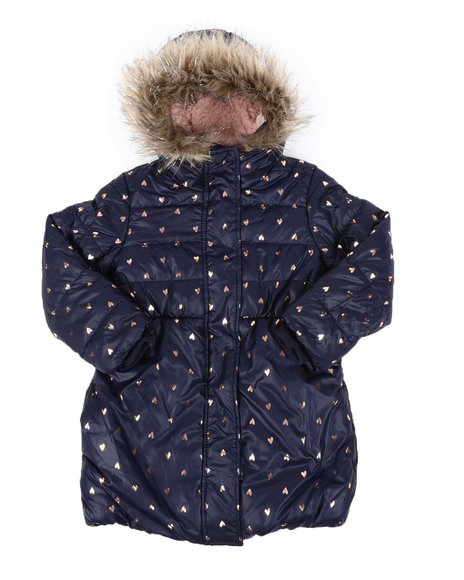 BCBGirls - Heart Print Hooded Sherpa Lined Puffer Jacket W/ Faux Fur Trim (4-6X)