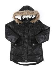 Outerwear - Hooded Elasticized Waist Sherpa Lined Parka Jacket W/ Faux Fur Trim (7-16)-2543001