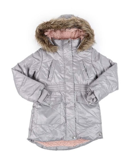BCBGirls - Hooded Elasticized Waist Sherpa Lined Parka Jacket W/ Faux Fur Trim (7-16)