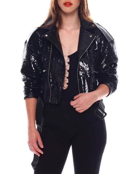 Fashion Lab - Pu Leather Jacket W/Sequin