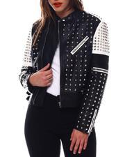 Fashion Lab - Studded Pu Biker Jacket-2544106