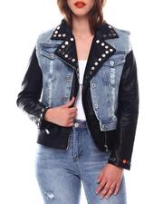 Fall-Winter - Two In One Denim Pu Jacket-2544116