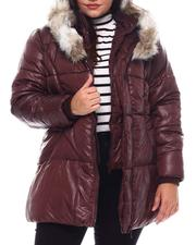 Plus Size - Plus Hooded Padded Coat W/Contrast Trim & Seam Pockets-2537924