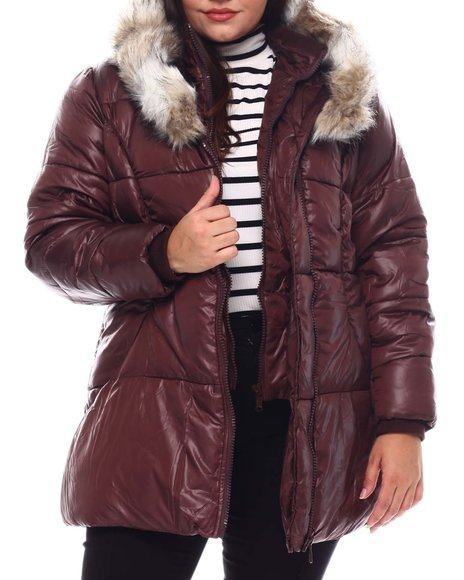 Fashion Lab - Plus Hooded Padded Coat W/Contrast Trim & Seam Pockets