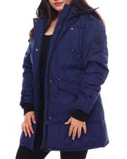 Plus Size - Plus Hooded Padded Coat W/Chest Welt Pocket Patch Bottom Pockets Rib Sleeve Cuff-2537928