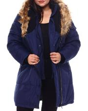 Plus Size - Puffer Jacket W/Asymmetrical Zip And Faux Fur Trim Hood-2537932