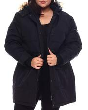 Plus Size - Hooded Puffer Jacket W/Faux Fur Trim Hood-2537940