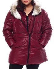 Fall-Winter - Plus Hooded Padded Coat W/Contrast Trim & Seam Pockets-2540595