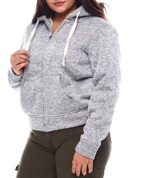 Fashion Lab - Plus Cozy Zip Front Hoodie