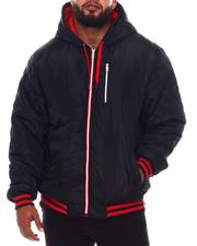 Light Jackets - Quilted Sleeves Zip Up Hooded Jacket (B&T)-2546246