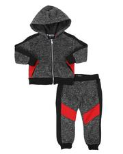 Infant & Newborn - Two Tone Moto Zip Up Hoodie & Joggers Set (Infant)-2544885