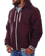 Light Jackets - Quilted Sleeves Zip Up Hooded Jacket (B&T)-2546203