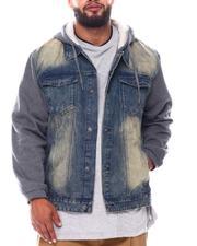 Denim Jackets - Denim Jacket With Fleece Sleeves & Hood (B&T)-2546251