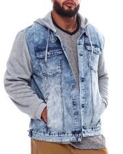 Denim Jackets - Denim Jacket With Fleece Sleeves & Hood (B&T)-2546260