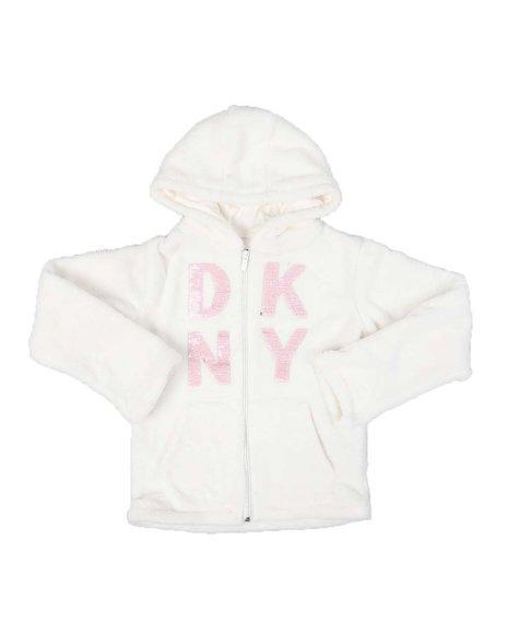 DKNY Jeans - Flip Sequin Logo Woobie Zip Up Hoodie (7-16)
