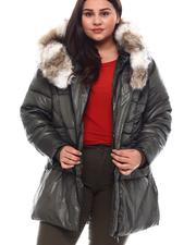 Plus Size - Plus Hooded Padded Coat W/Contrast Trim & Seam Pockets-2537920