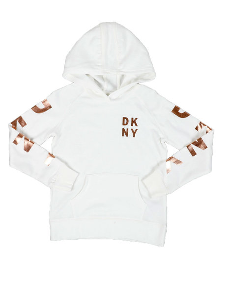 DKNY Jeans - Logo Sleeve Fleece Pullover Hoodie (7-16)