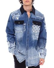 DJPremium - Contrast Yoke Denim Shirt-2545581