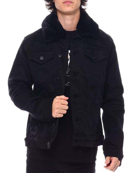 SMOKE RISE - Contrast Collar Distressed Denim Jacket