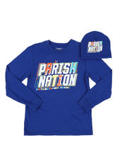 Parish - 2 Pc Parish Nation Graphic Long Sleeve T-Shirt & Beanie Set (8-20)-2543508