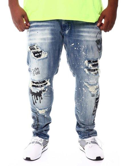 SMOKE RISE - Graffiti Paint Splatter Ripped Jeans (B&T)