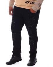 SMOKE RISE - Moto Knee Distressed Rip Jeans (B&T)-2541863