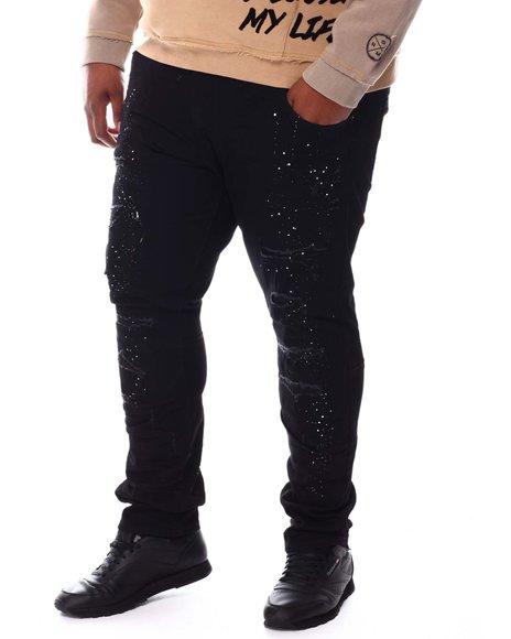 SMOKE RISE - Moto Knee Distressed Rip Jeans (B&T)