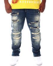 SMOKE RISE - Moto Knee Distressed Rip Jeans (B&T)-2541881