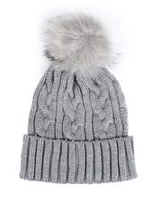 Fashion Lab - Knit Faux Fur Pom Hat-2547355