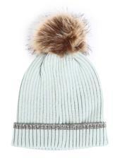 Fashion Lab - Lurex Trim Hat W/ Faux Fur Pom-2547356