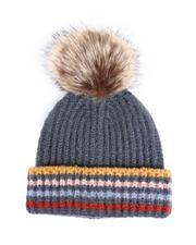 Women - Knit Four Stripes Hat W/ Faux Fur Pom-2547358