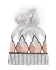 Fashion Lab - Lurex Hat W/ Faux Fur Pom-2547359