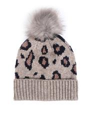 Fashion Lab - Lurex Leopard Print Hat W/ Faux Fur Pom-2547360