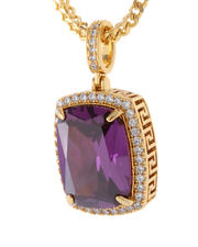King Ice - 14K Gold Amethyst Crown Julz Collection Necklace-2547334